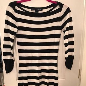 French Connection Dresses - French Connection White & Black Sweater Dress.